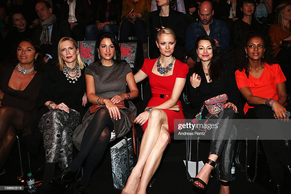 Anna von Griesheim, Tamara von Nayhauss, Minu Barati-Fischer, Franziska Knuppe, Cosma-Shiva Hagen and Dennenesch Zoude attend Miranda Konstantinidou Autumn/Winter 2013/14 fashion show during Mercedes-Benz Fashion Week Berlin at Brandenburg Gate on January 18, 2013 in Berlin, Germany.