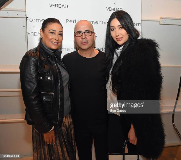 Anna Weiser Louis Verdad and Bianca Weiser pose backstage at the Verdad fashion show during New York Fashion Week at Pier 59 on February 12 2017 in...