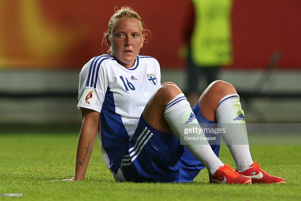 Anna Westerlund of Finland looks dejected after the UEFA Women's EURO 2013 Group A match between Denmark and Finland at Gamla Ullevi Stadium on July 16, 2013 in Gothenburg, Sweden. The match between Denmark and Finland ended 1-1.