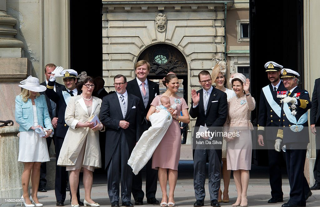 Anna Westling, <a gi-track='captionPersonalityLinkClicked' href=/galleries/search?phrase=Prince+Carl+Philip+of+Sweden&family=editorial&specificpeople=160179 ng-click='$event.stopPropagation()'>Prince Carl Philip of Sweden</a>, Ewa Westling, Olle Westling, Prince Willem-Alexander of the Netherlands, Princess Victoria of Sweden, <a gi-track='captionPersonalityLinkClicked' href=/galleries/search?phrase=Princess+Estelle&family=editorial&specificpeople=8948207 ng-click='$event.stopPropagation()'>Princess Estelle</a> of Sweden, Prince Daniel of Sweden, Princess Mary of Denmark and Queen Silvia of Sweden and King Carl XVI Gustaf of Sweden attend the christening of <a gi-track='captionPersonalityLinkClicked' href=/galleries/search?phrase=Princess+Estelle&family=editorial&specificpeople=8948207 ng-click='$event.stopPropagation()'>Princess Estelle</a> Silvia Ewa Mary of Sweden at The Royal Palace on May 22, 2012 in Stockholm, Sweden.