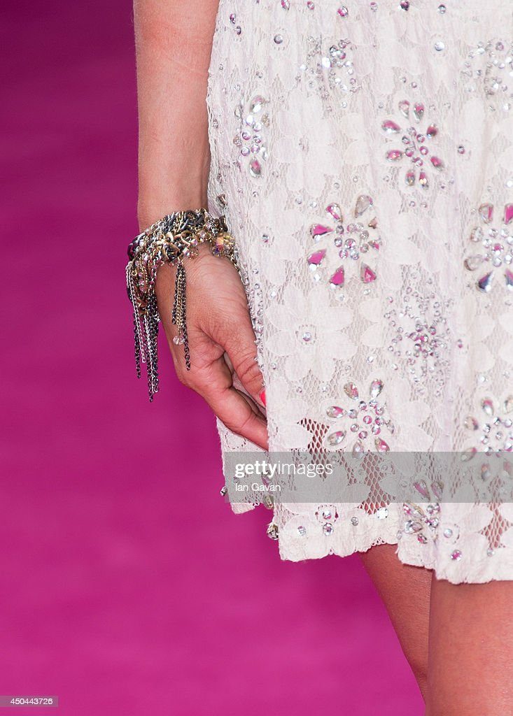 Anna Williamson (jewelry detail) attends the UK Premiere of 'Walking On Sunshine' at Vue West End on June 11, 2014 in London, England.