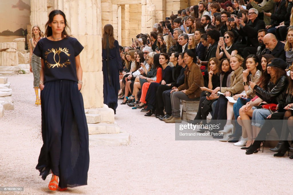 Anna Wintour, Adriana Ugarte, Pedro Almodovar, Isabelle Huppert, Melita Toscan du Plantier, Yara Shahidi, Charlotte Casiraghi and Liu Wen attend the Chanel Cruise 2017/2018 Collection Show at Grand Palais on May 3, 2017 in Paris, France.