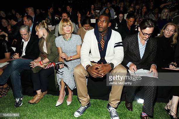 Anna Wintour Amare Stoudameyer and Hamish Bowles attend the Tommy Hilfiger Spring 2011 Men's and Women's show during MercedesBenz fashion week at...