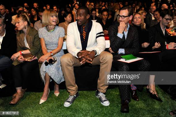 Anna Wintour Amar'e Stoudemire and Hamish Bowles attend TOMMY HILFIGER Spring 2011 Fashion Show at Lincoln Center The Theatre on September 12 2010