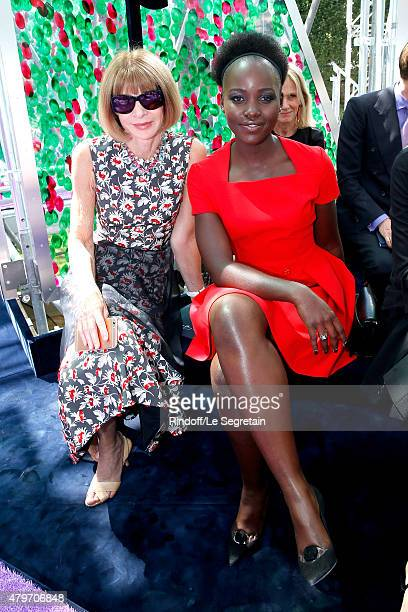 Anna Wintour and Actress Lupita Nyong'o attend the Christian Dior show as part of Paris Fashion Week Haute Couture Fall/Winter 2015/2016 on July 6...