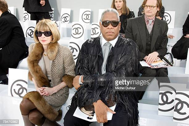 Anna Wintour and Andre Leon Talley in the front row at the Chanel fashion show F/W 2007/08 at Grand Palais on March 2 2007 in Paris France