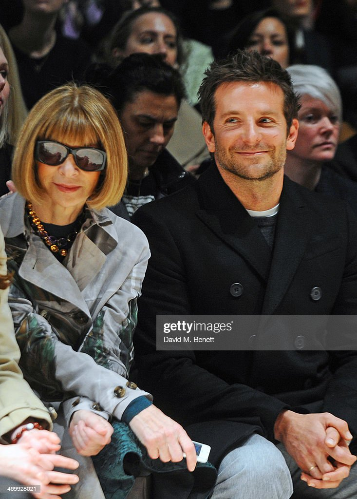 <a gi-track='captionPersonalityLinkClicked' href=/galleries/search?phrase=Anna+Wintour&family=editorial&specificpeople=202210 ng-click='$event.stopPropagation()'>Anna Wintour</a> (L) and <a gi-track='captionPersonalityLinkClicked' href=/galleries/search?phrase=Bradley+Cooper&family=editorial&specificpeople=680224 ng-click='$event.stopPropagation()'>Bradley Cooper</a> attend the front row at Burberry Womenswear Autumn/Winter 2014 at Kensington Gardens on February 17, 2014 in London, England.