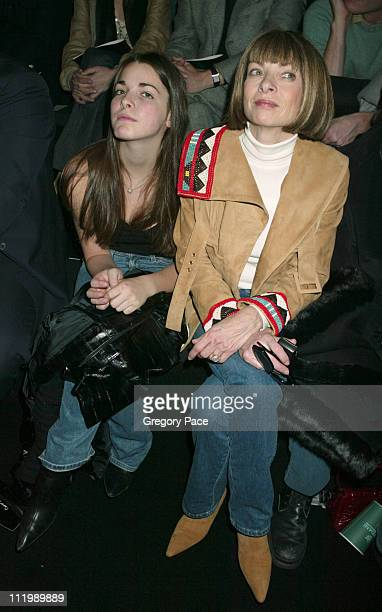 Anna Wintour and daughter Bea during Sean John Fall 2003 Fashion Show at Ciprianis in New York NY United States