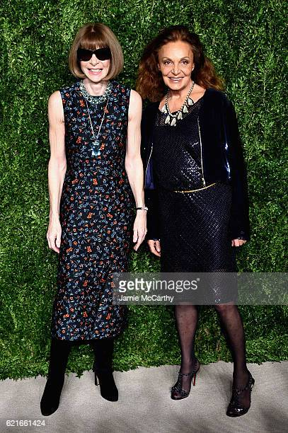 Anna Wintour and Diane von Furstenberg attend 13th Annual CFDA/Vogue Fashion Fund Awards at Spring Studios on November 7 2016 in New York City