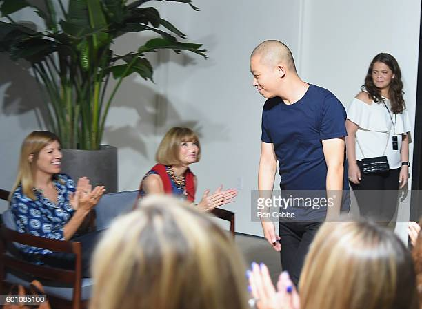 Anna Wintour and Fashion designer Jason Wu at the Jason Wu fashon show during New York Fashion Week September 2016 at Spring Studios on September 9...