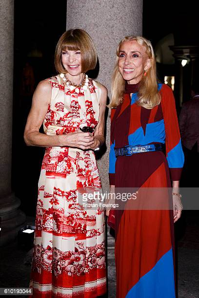 Anna Wintour and Franca Sozzani attend the dinner honouring Bottega Veneta's Tomas Maier 15th anniversary as Creative Director during Milan Fashion...