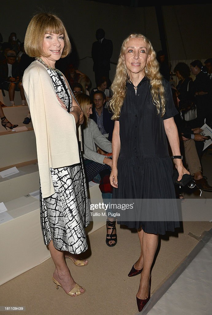 <a gi-track='captionPersonalityLinkClicked' href=/galleries/search?phrase=Anna+Wintour&family=editorial&specificpeople=202210 ng-click='$event.stopPropagation()'>Anna Wintour</a> and <a gi-track='captionPersonalityLinkClicked' href=/galleries/search?phrase=Franca+Sozzani&family=editorial&specificpeople=639425 ng-click='$event.stopPropagation()'>Franca Sozzani</a> attend the Max Mara show as a part of Milan Fashion Week Womenswear Spring/Summer 2014 on September 19, 2013 in Milan, Italy.