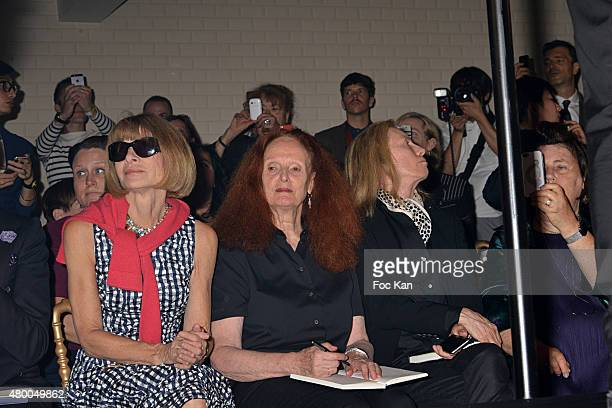 Anna Wintour and Grace Coddington attend the JeanPaul Gaultier show as part of Paris Fashion Week Haute Couture Fall/Winter 2015/2016 at 325 rue...