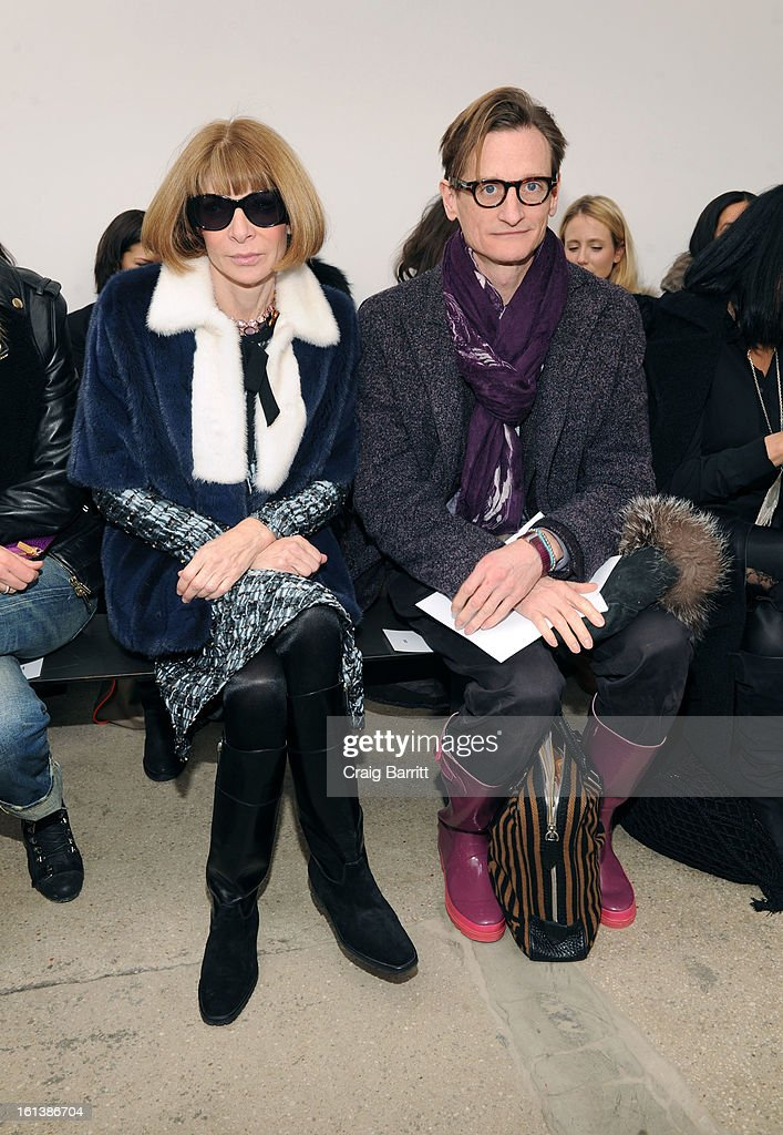 <a gi-track='captionPersonalityLinkClicked' href=/galleries/search?phrase=Anna+Wintour&family=editorial&specificpeople=202210 ng-click='$event.stopPropagation()'>Anna Wintour</a> and <a gi-track='captionPersonalityLinkClicked' href=/galleries/search?phrase=Hamish+Bowles&family=editorial&specificpeople=217532 ng-click='$event.stopPropagation()'>Hamish Bowles</a> attend the Derek Lam fall 2013 fashion show during Mercedes-Benz Fashion Week at Sean Kelly Gallery on February 10, 2013 in New York City.