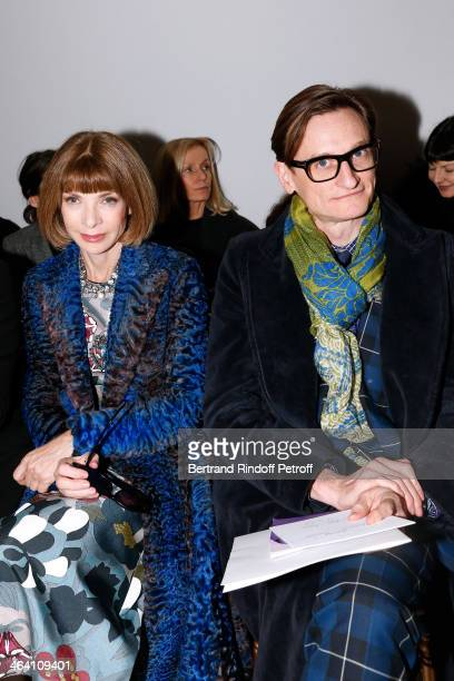 Anna Wintour and Hamish Bowles attend the Giambattista Valli show as part of Paris Fashion Week Haute Couture Spring/Summer 2014 on January 20 2014...