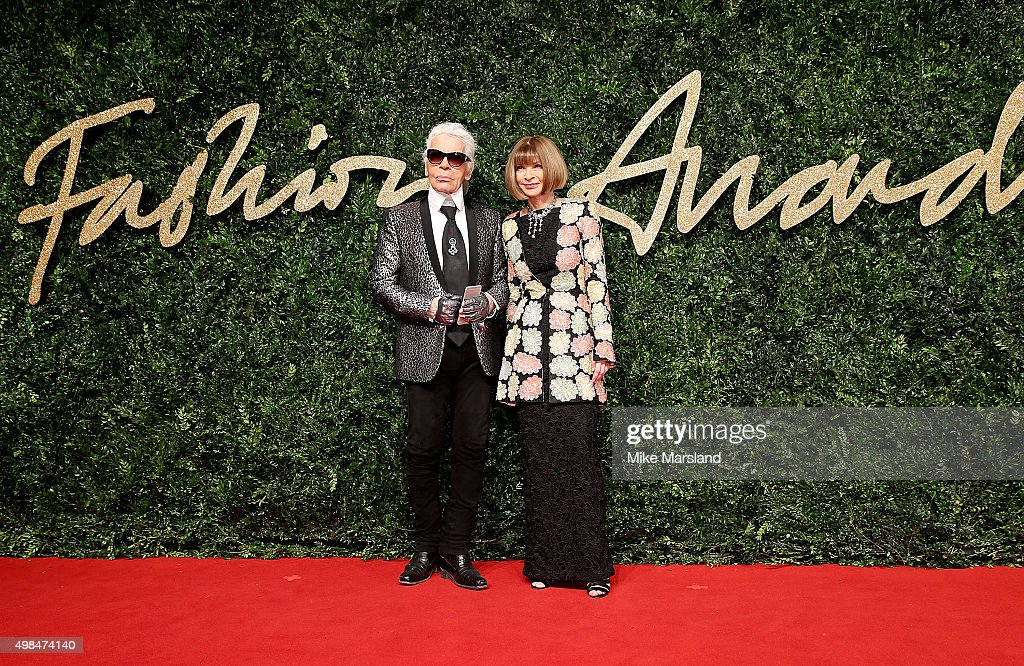 Anna Wintour and Karl Lagerfeld attend the British Fashion Awards 2015 at London Coliseum on November 23, 2015 in London, England.