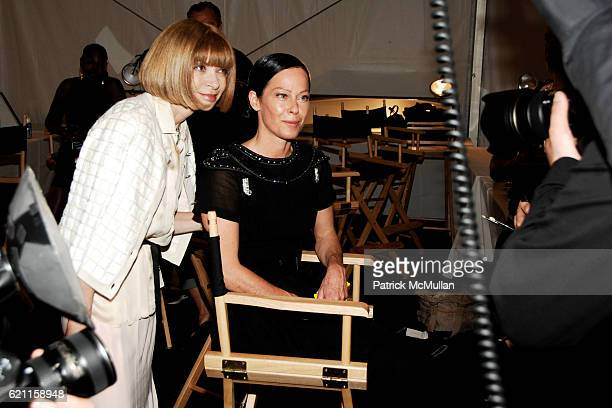 Anna Wintour and Lady Amanda Harlech attend CHANEL 2008 Cruise Collection Backstage at The Raleigh Hotel on May 15 2008 in Miami Beach FL