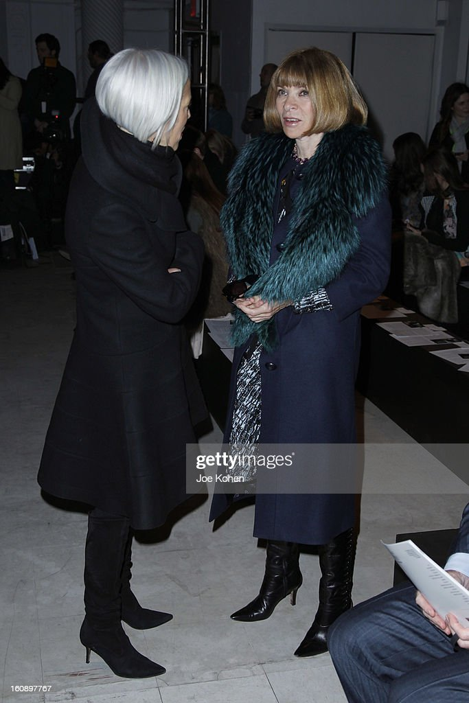 <a gi-track='captionPersonalityLinkClicked' href=/galleries/search?phrase=Anna+Wintour&family=editorial&specificpeople=202210 ng-click='$event.stopPropagation()'>Anna Wintour</a> (R) and <a gi-track='captionPersonalityLinkClicked' href=/galleries/search?phrase=Linda+Fargo&family=editorial&specificpeople=592060 ng-click='$event.stopPropagation()'>Linda Fargo</a> attend the Kimberly Ovitz fall 2013 fashion show during Mercedes-Benz Fashion Week at Cafe Rouge on February 7, 2013 in New York City.