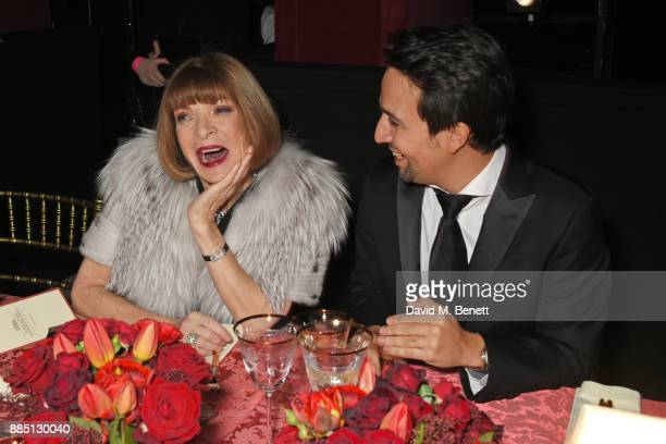 Anna Wintour and LinManuel Miranda attend the London Evening Standard Theatre Awards 2017 at the Theatre Royal Drury Lane on December 3 2017 in...