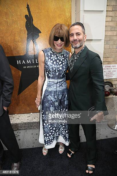 Anna Wintour and Marc Jacobs attend 'Hamilton' Broadway opening night at Richard Rodgers Theatre on August 6 2015 in New York City