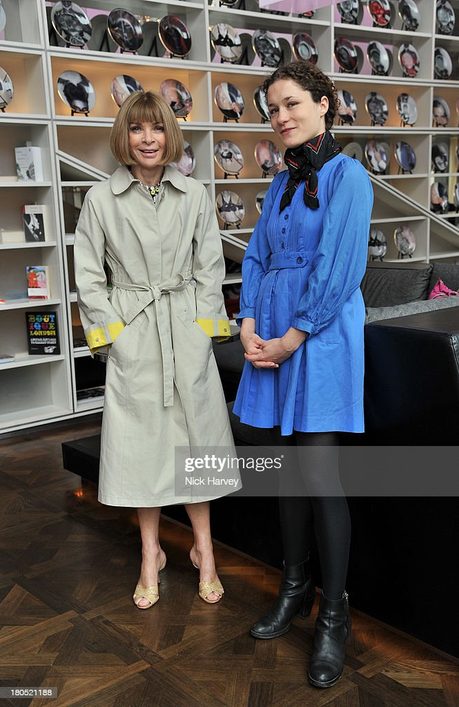 <a gi-track='captionPersonalityLinkClicked' href=/galleries/search?phrase=Anna+Wintour&family=editorial&specificpeople=202210 ng-click='$event.stopPropagation()'>Anna Wintour</a> and Mary Nighy attend the Eco-Age and Green Carpet Challenge screening of Handprint at W London - Leicester Square on September 14, 2013 in London, United Kingdom.