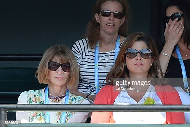 Anna Wintour and Mirka Federer are seen at Sony Open Tennis at Crandon Park Tennis Center on March 23 2014 in Key Biscayne Florida