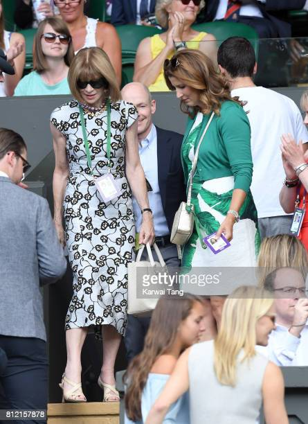 Anna Wintour and Mirka Federer attend day seven of the Wimbledon Tennis Championships at the All England Lawn Tennis and Croquet Club on July 10 2017...