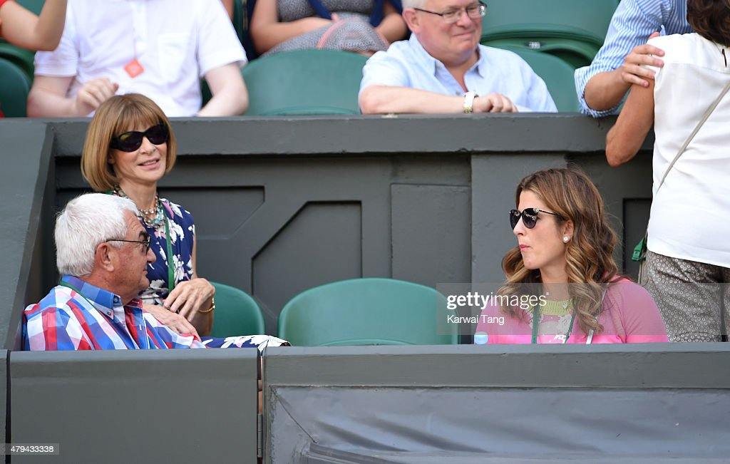 Anna Wintour (L) and Mirka Federer (R) attend day six of the Wimbledon Tennis Championships at Wimbledon on July 4, 2015 in London, England.