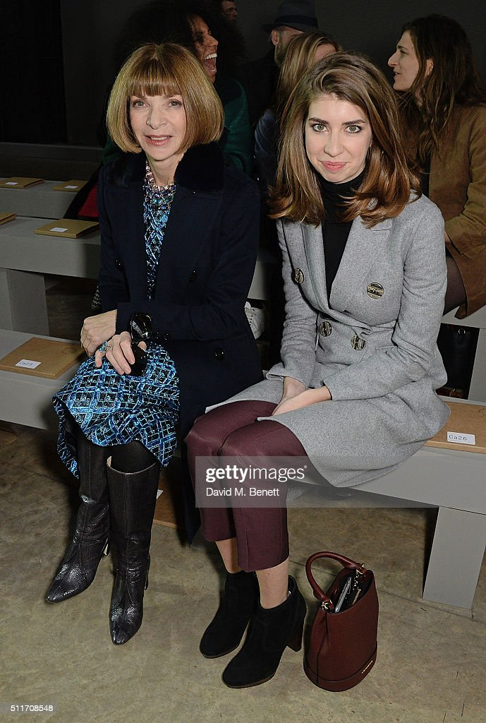 Anna Wintour and niece attend the Christopher Kane show during London Fashion Week Autumn/Winter 2016/17 at Tate Modern on February 22, 2016 in London, England.