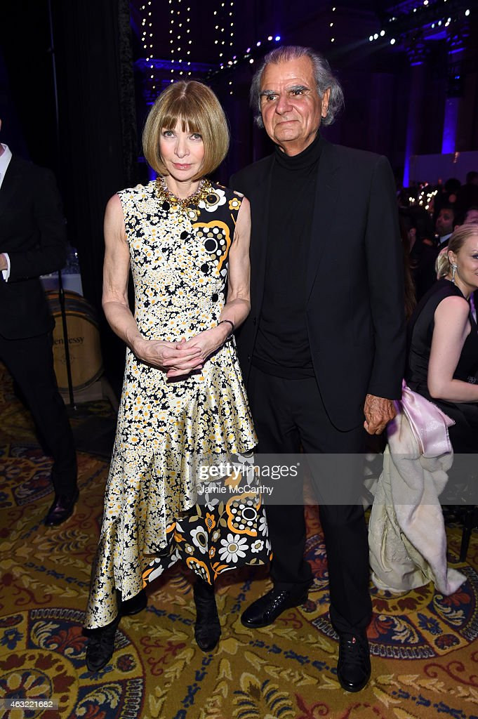 Anna Wintour and Patrick Demarchelier attend the 2015 amfAR New York Gala at Cipriani Wall Street on February 11 2015 in New York City