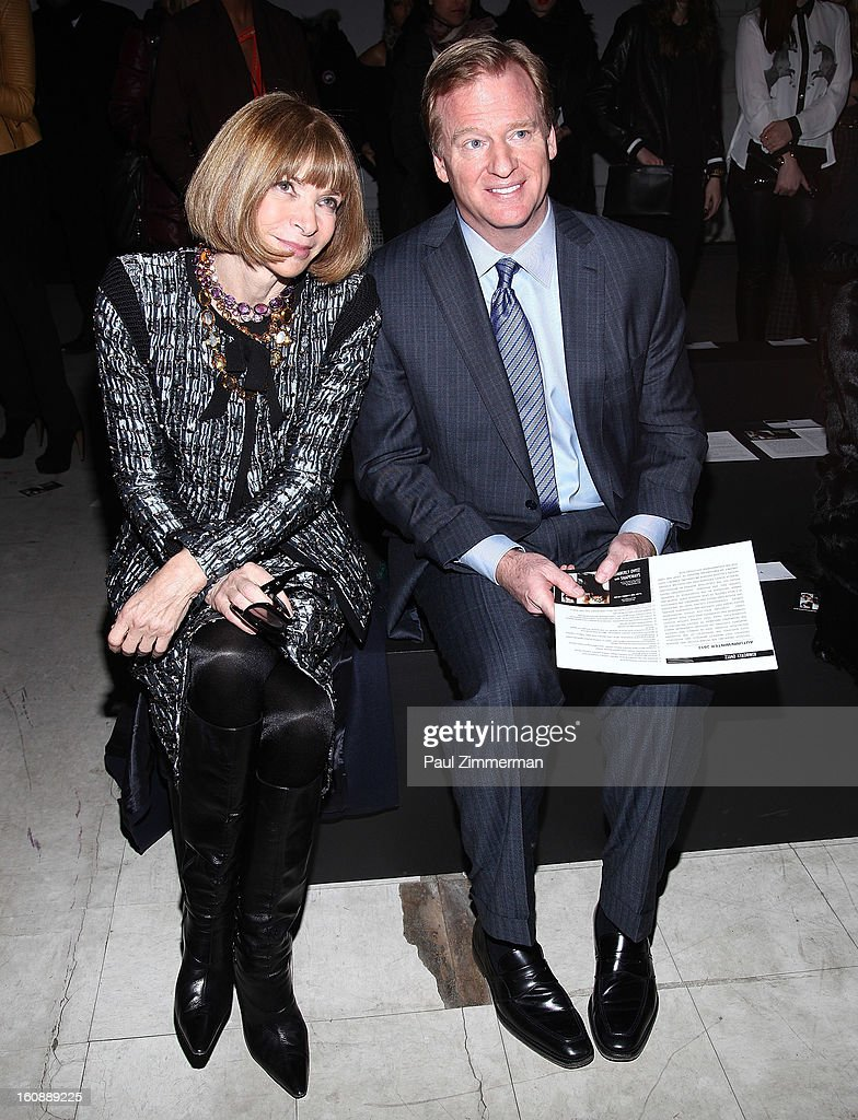<a gi-track='captionPersonalityLinkClicked' href=/galleries/search?phrase=Anna+Wintour&family=editorial&specificpeople=202210 ng-click='$event.stopPropagation()'>Anna Wintour</a> (L) and <a gi-track='captionPersonalityLinkClicked' href=/galleries/search?phrase=Roger+Goodell&family=editorial&specificpeople=744758 ng-click='$event.stopPropagation()'>Roger Goodell</a>, NFL Commissioner, attend Kimberly Ovitz during Fall 2013 Mercedes-Benz Fashion Week at Cafe Rouge on February 7, 2013 in New York City.