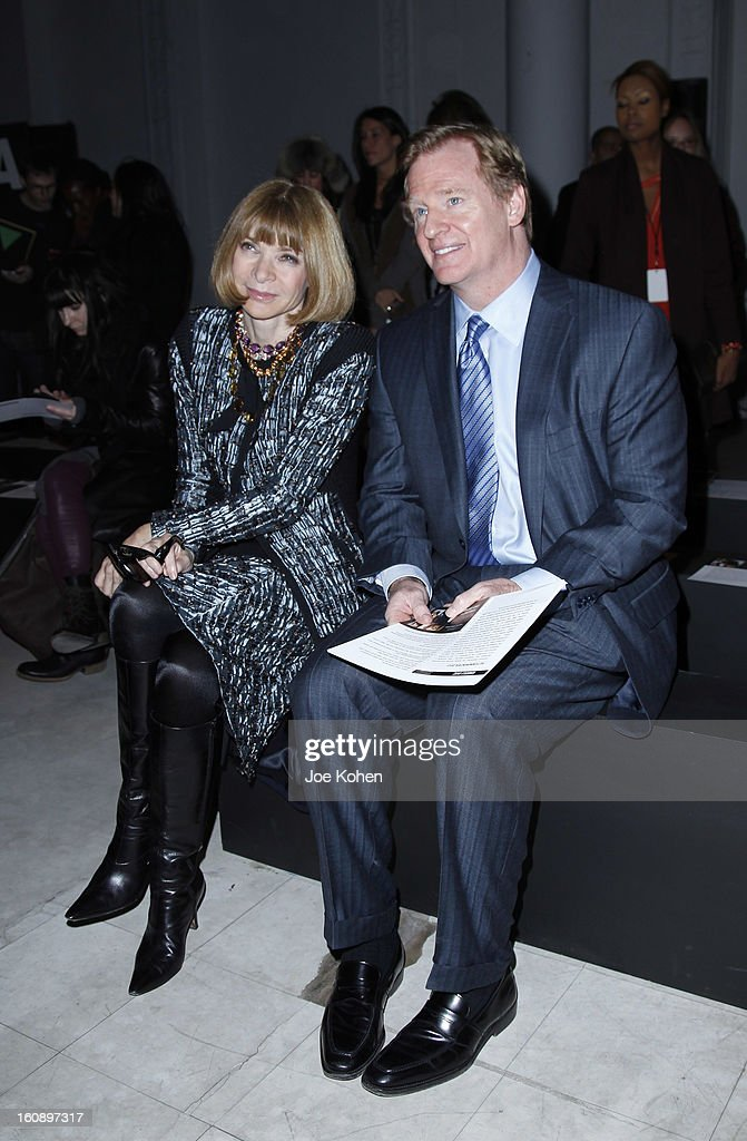 <a gi-track='captionPersonalityLinkClicked' href=/galleries/search?phrase=Anna+Wintour&family=editorial&specificpeople=202210 ng-click='$event.stopPropagation()'>Anna Wintour</a> (L) and <a gi-track='captionPersonalityLinkClicked' href=/galleries/search?phrase=Roger+Goodell&family=editorial&specificpeople=744758 ng-click='$event.stopPropagation()'>Roger Goodell</a>, NFL Commissioner, attend the Kimberly Ovitz show during Fall 2013 Mercedes-Benz Fashion Week at Cafe Rouge on February 7, 2013 in New York City.
