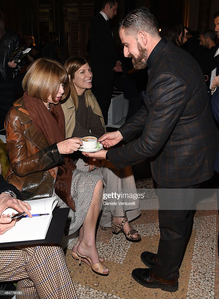 Anna Wintour and Salvo Nicosia attend Emilio Pucci show during the Milan Fashion Week Autumn/Winter 2015 on February 28 2015 in Milan Italy