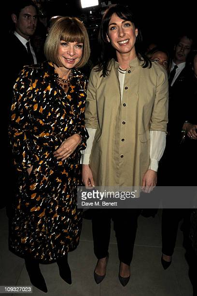 Anna Wintour and Samantha Cameron attend the Burberry Prorsum Show at London Fashion Week Autumn/Winter 2011 at Kensington Gardens on February 21...