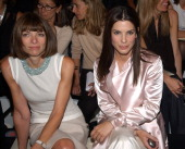 Anna Wintour and Sandra Bullock during MercedesBenz Fashion Week Spring Collections 2003 Calvin Klein Show Front Row at Milk Studios in New York City...