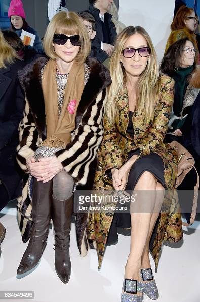 Anna Wintour and Sarah Jessica Parker attend the Calvin Klein Collection Front Row during New York Fashion Week on February 10 2017 in New York City...