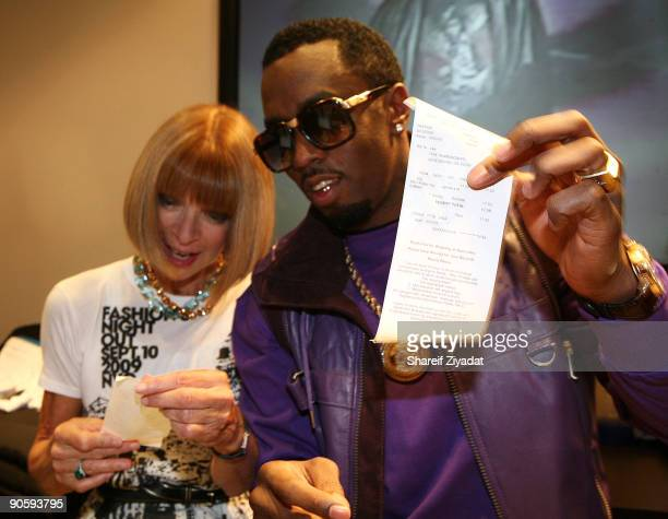 Anna Wintour and Sean 'P Diddy' Combs attend a celebration at the Sean John Store for 'Fashion's Night Out' on September 10 2009 in New York City