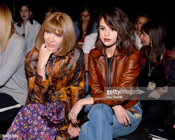 Anna Wintour and Selena Gomez attend Coach Spring 2019 fashion show during New York Fashion Week at Basketball City Pier 36 South Street on September...