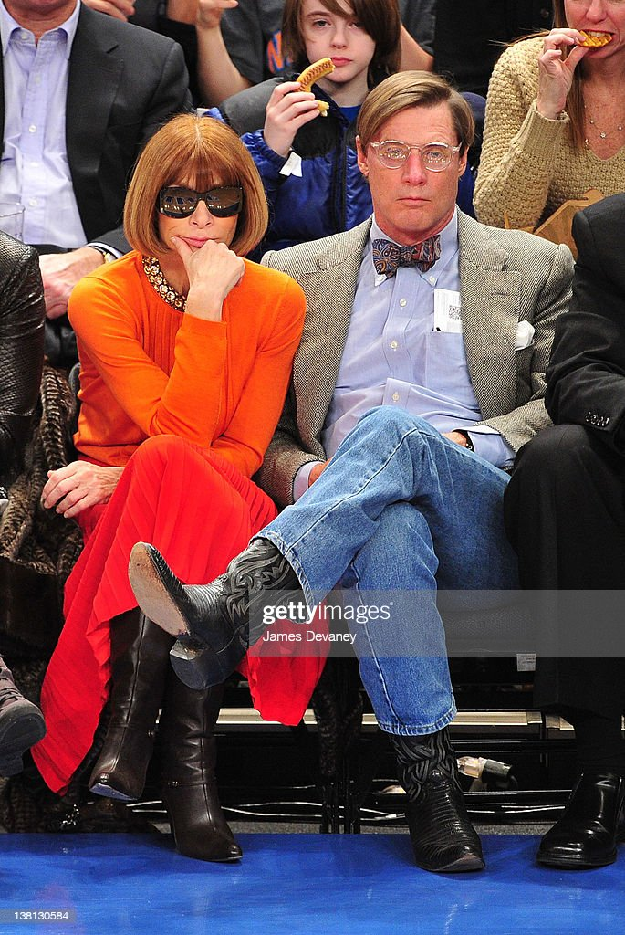 Anna Wintour and Shelby Bryan attend the Chicago Bulls VS New York Knicks at Madison Square Garden on February 2, 2012 in New York City.