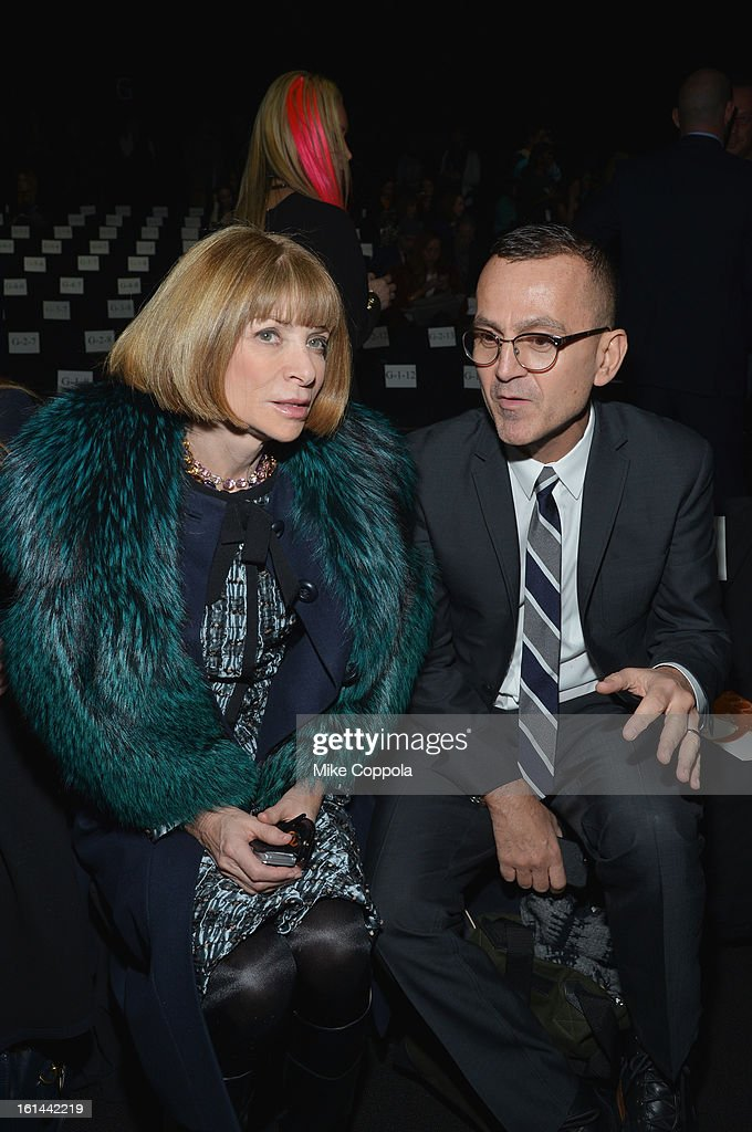 <a gi-track='captionPersonalityLinkClicked' href=/galleries/search?phrase=Anna+Wintour&family=editorial&specificpeople=202210 ng-click='$event.stopPropagation()'>Anna Wintour</a> and <a gi-track='captionPersonalityLinkClicked' href=/galleries/search?phrase=Steven+Kolb&family=editorial&specificpeople=854812 ng-click='$event.stopPropagation()'>Steven Kolb</a> attend the Diane Von Furstenberg Fall 2013 fashion show during Mercedes-Benz Fashion at The Theatre at Lincoln Center on February 10, 2013 in New York City.