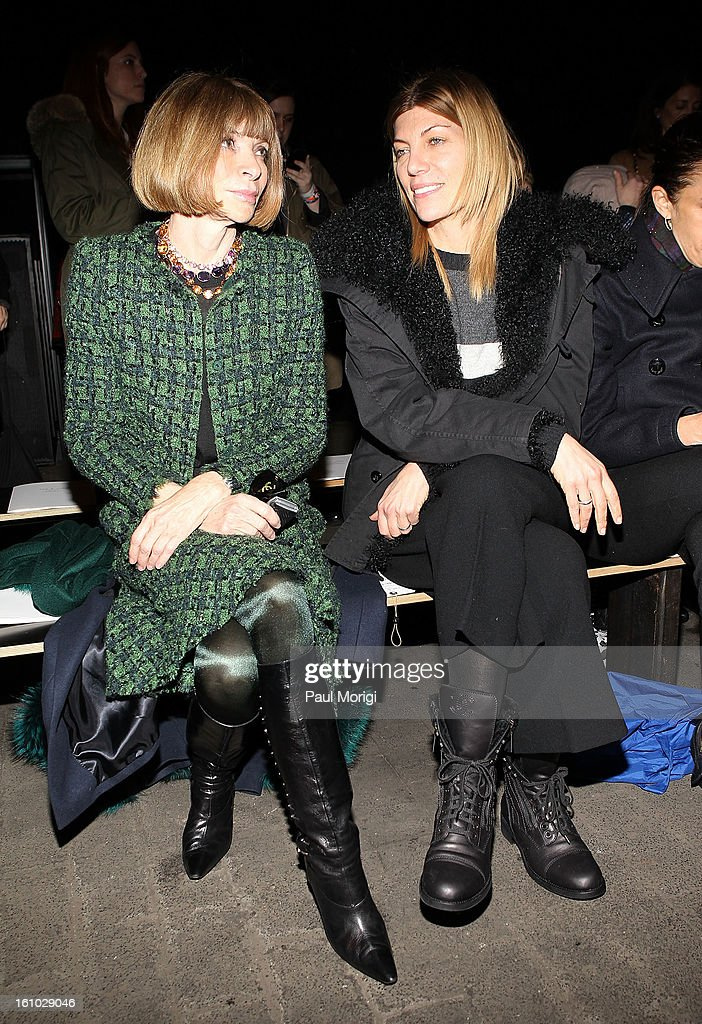 <a gi-track='captionPersonalityLinkClicked' href=/galleries/search?phrase=Anna+Wintour&family=editorial&specificpeople=202210 ng-click='$event.stopPropagation()'>Anna Wintour</a> (L) and <a gi-track='captionPersonalityLinkClicked' href=/galleries/search?phrase=Virginia+Smith&family=editorial&specificpeople=220533 ng-click='$event.stopPropagation()'>Virginia Smith</a> attend Rag & Bone Women's Collection during Fall 2013 Mercedes-Benz Fashion Week at Skylight Studios at Moynihan Station on February 8, 2013 in New York City.