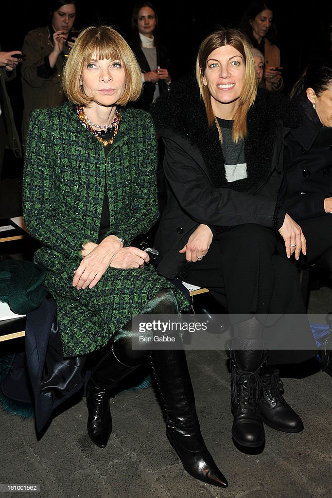 <a gi-track='captionPersonalityLinkClicked' href=/galleries/search?phrase=Anna+Wintour&family=editorial&specificpeople=202210 ng-click='$event.stopPropagation()'>Anna Wintour</a> and <a gi-track='captionPersonalityLinkClicked' href=/galleries/search?phrase=Virginia+Smith&family=editorial&specificpeople=220533 ng-click='$event.stopPropagation()'>Virginia Smith</a> attend the Rag & Bone Women's fall 2013 fashion show during Mercedes-Benz Fashion Week at Skylight Studios at Moynihan Station on February 8, 2013 in New York City.