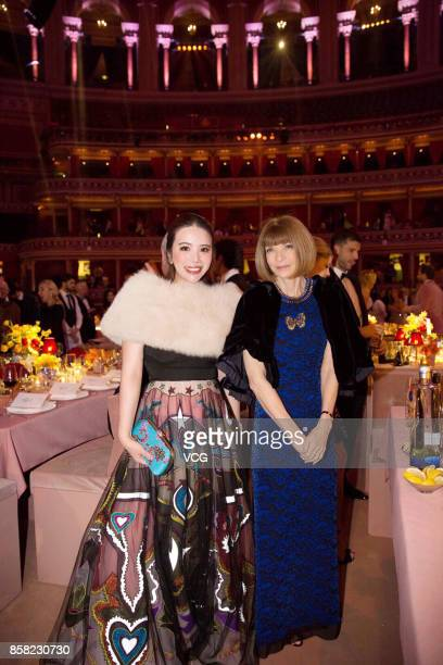 Anna Wintour and Wendy Yu attend the Giambattista Valli show as part of the Paris Fashion Week Womenswear Spring/Summer 2018 on October 2 2017 in...
