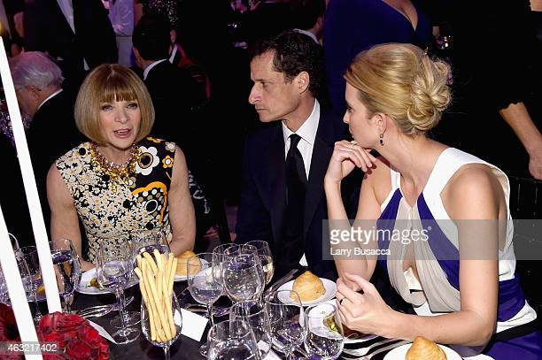 Anna Wintour Anthony Weiner and Ivanka Trump attend the 2015 amfAR New York Gala at Cipriani Wall Street on February 11 2015 in New York City