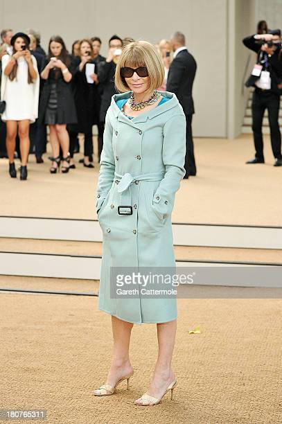 Anna Wintour arrives at Burberry Prorsum Womenswear Spring/Summer 2014 show during London Fashion Week at Kensington Gardens on September 16 2013 in...