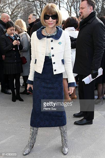 Anna Wintour arrives at the Chanel show as part of the Paris Fashion Week Womenswear Fall/Winter 2016/2017 on March 8 2016 in Paris France