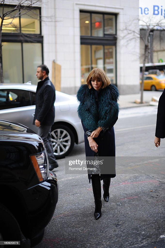 Anna Wintour arrives at the Edun show on February 7, 2013 in New York City.