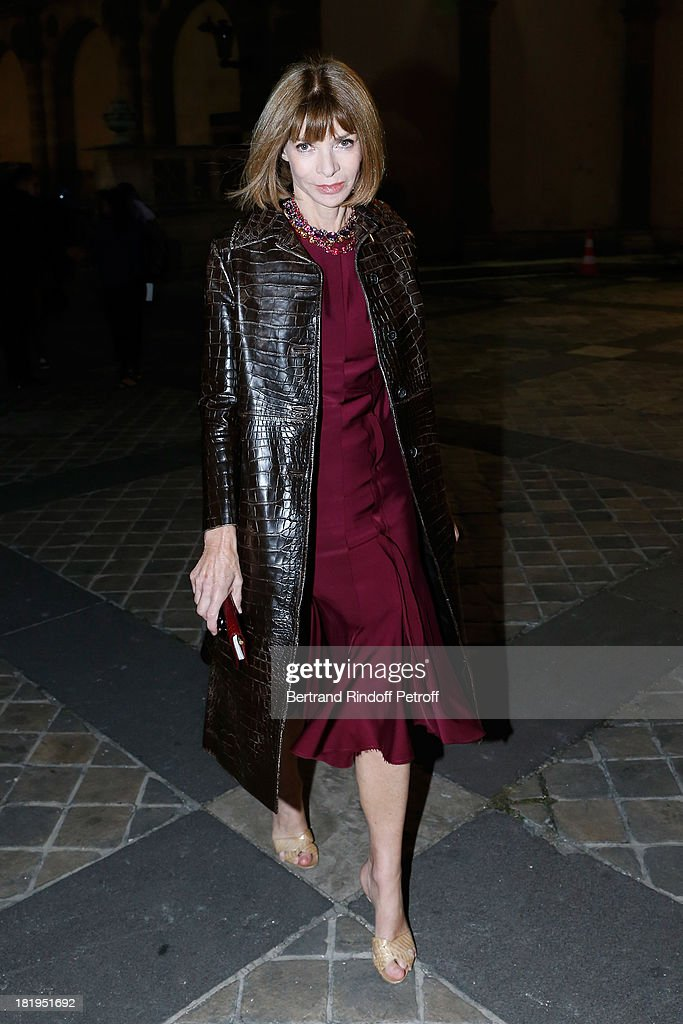 <a gi-track='captionPersonalityLinkClicked' href=/galleries/search?phrase=Anna+Wintour&family=editorial&specificpeople=202210 ng-click='$event.stopPropagation()'>Anna Wintour</a> arriving at Lanvin show as part of the Paris Fashion Week Womenswear Spring/Summer 2014, held at 'Ecole des beaux Arts' on September 26, 2013 in Paris, France.