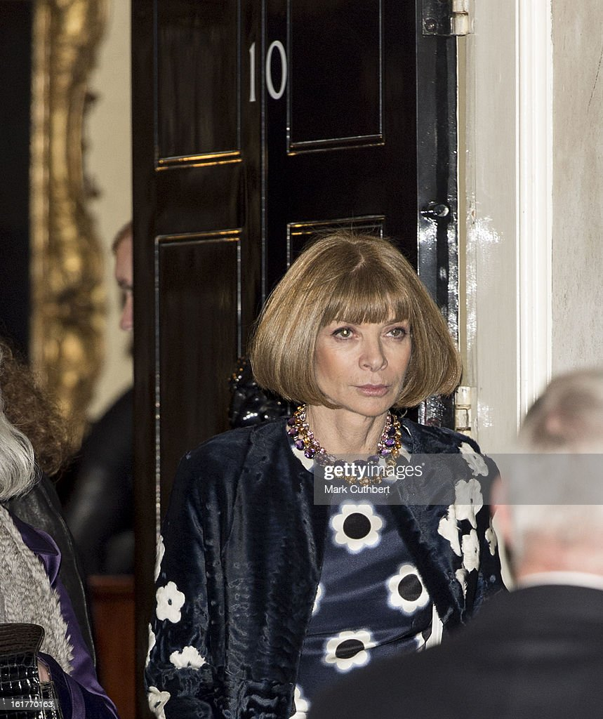 <a gi-track='captionPersonalityLinkClicked' href=/galleries/search?phrase=Anna+Wintour&family=editorial&specificpeople=202210 ng-click='$event.stopPropagation()'>Anna Wintour</a> at the Downing Street reception during London Fashion Week Fall/Winter 2013/14 at 10 Downing Street on February 15, 2013 in London, England.