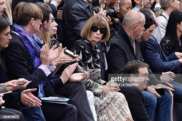 Anna Wintour attend the Chloe show as part of the Paris Fashion Week Womenswear Spring/Summer 2016 on October 1 2015 in Paris France